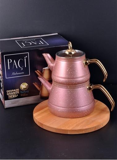 Bayev Metal Kulplı Piramit Granit Çaydanlık-200469 Kahve Renkli
